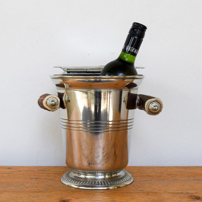 Lidded Ice Bucket w. Antler Handles