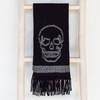 Lynette Fringe Scarf - Black/Mid Heather