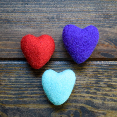 Assorted Felted Pet Hearts