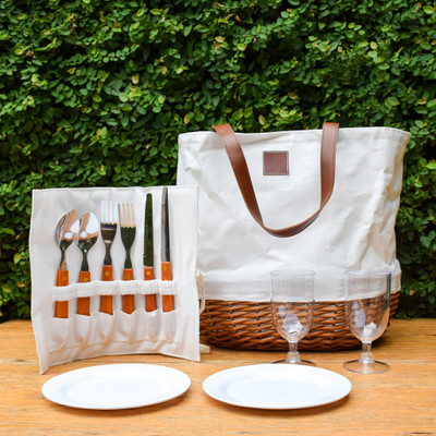 Always wanted a picnic basket that could actually fit a picnic? Look no further! The Promenade Picnic Basket is part basket, part bag making it the perfect option for a true foodie! It includes all of the necessities for a picnic, with plenty of room for wine, cheese, and lunch inside!