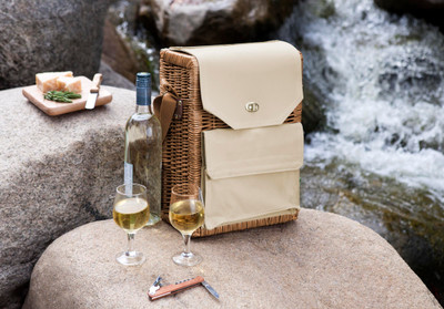 "Ready for your next romantic getaway? This wine basket features an insulated space for two 750ml bottles of wine, and an exterior pocket that holds a cheese board (6""x6""), wood handled cheese knife, and waiter style corkscrew. The adjustable shoulder strap allows for an easy carry to your next picnic."