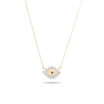 Super Tiny Pave Evil Eye Necklace - Y14