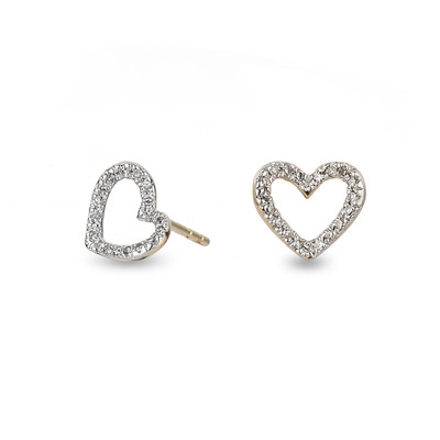 Tiny Pave Open Folded Heart Posts - Y14
