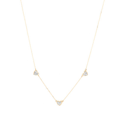 3 Pave Folded Heart Chain Necklace - Y14