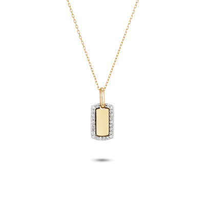 Tiny Pave Dog Tag Necklace - Y14