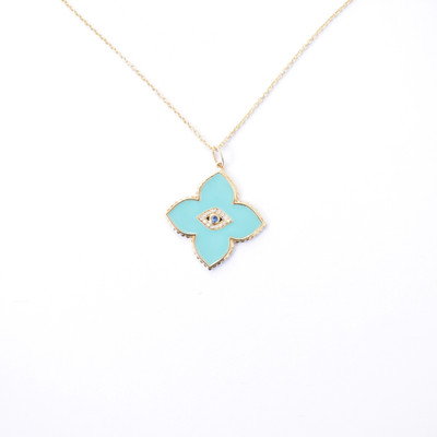 Bezel Evil Eye Moroccon Enamel Necklace