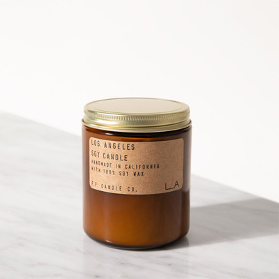 The Los Angeles candle is hand poured in the amber apothecary jar, a signature look for P.F. Candle company. It is composed of 100% domestically grown soy wax, fins frangrance oils and cotton-core wicks. All fragrances are paraben-free and phthalate free.