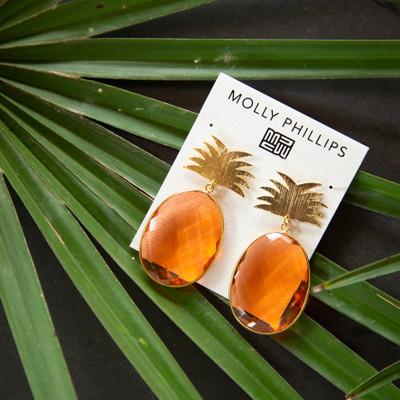 Pineapple w/ Orange Gemstones Earrings