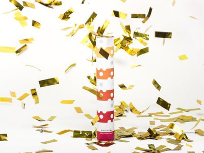 Bring the party with you! This confetti cannon it filled with gold confetti that explodes into a celebration.   Compressed Air, Mylar, Paper Tube