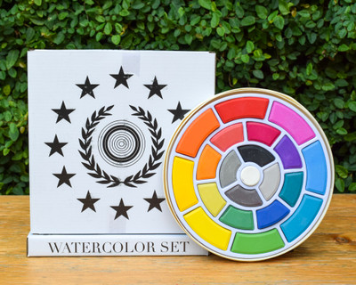 A gift for the kids, or yourself? You decide! This watercolor set is a great into your inner artist. Complete with a convenient wooden box (lid can be used for mixing), brush, and bright colors.