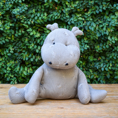 Grey Cotton Knit Hippo