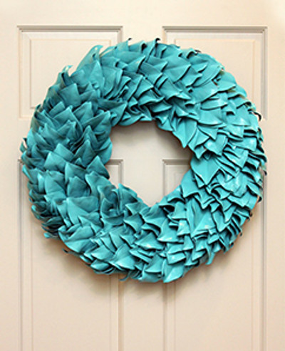 Turquoise Lacquer  Each leaf is hand chosen to piece together one of these beautiful wreaths. The magnolia leaves dry beautifully so you can continue to enjoy them for seasons to come.