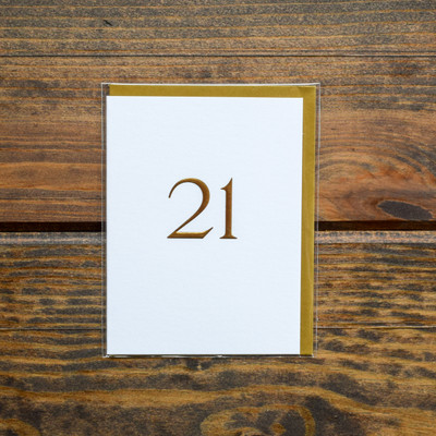 """Simple and meaningful this birthday card is the perfect thing to celebrate that milestone birthday. Blank inside so you can fill with your personal well wishes and accompanied by a coordinating gold envelope. Printed on white textured FSC certified paper from managed forests and packaged in cello jacket.   Greeting: Blank  Size: 3.5"""" x 4.75""""  Type: Birthday"""