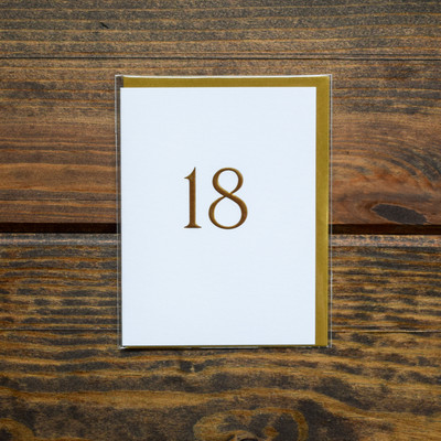 "Simple and meaningful this birthday card is the perfect thing to celebrate that milestone birthday. Blank inside so you can fill with your personal well wishes and accompanied by a coordinating gold envelope. Printed on white textured FSC certified paper from managed forests and packaged in cello jacket.   Greeting: Blank  Size: 3.5"" x 4.75""  Type: Birthday"