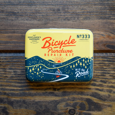 The kit every bicyclist needs! All of the essentials neatly fit into a easy carry metal tin to keep you rolling! Bicycle puncture repair kit includes:  - Bone Wrench   - Metal Rasp   - Multi-function Bicycle Tool   - 6 - Self Adhesive Patches, 2 sizes   - 2 - Plastic Tyre Lever  - Instructions