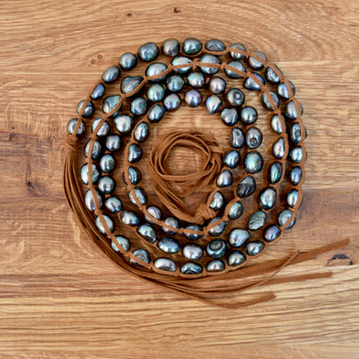 """Peacock Pearl Necklace - 45"""""""