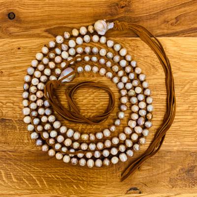 XLong Lavender Pearl w/ Baroque Necklace