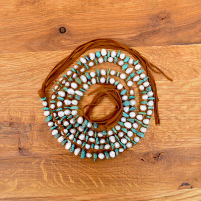 Small White w/ Turquoise Chips Necklace