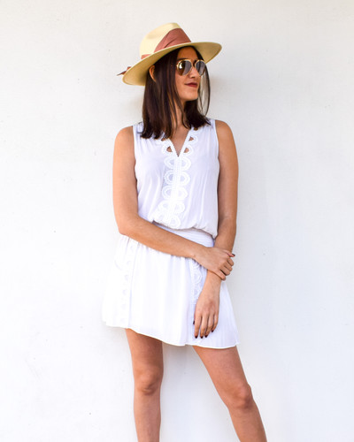 A glamorous dress full of all the important details. The smocked waist makes the silhouette flattering and transitional, with the mini hem it's a showstopper. The lace detail and front pockets really seal the deal in making this dress your favorite summer outfit.