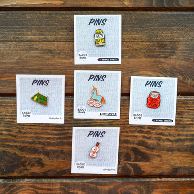 Don't want to commit to a patch? Or maybe just don't have room for a patch? An enamel pin is a great alternative! These fun pins can easily be placed on any clothing or bag to instantly make it unique!