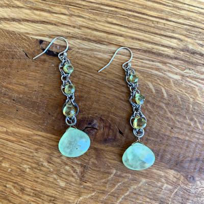 Phrenite/Chrysopberyl Linear Earrings