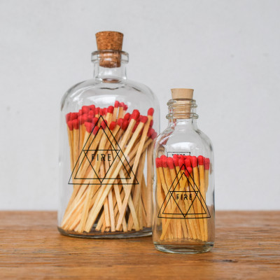 A match as beautiful as your candle! These matches are perfectly packaged in apothecary-inspired bottles, each featuring a silk-screened design and a striker strip on the bottle.