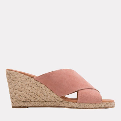 """Your summer throw on shoe, whether you're headed to the pool, beach, or grocery the Amber can take you there in style! The ultra cushy foot bed will make sure you can go all day, the neutral blush suede will compliment all of your favorite sundresses and the 1"""" toe platform gives you just a little bit of height."""