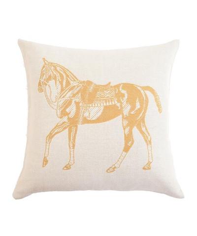 Polo Horse Pillow - Gold/Ecru