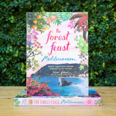 The Forest Feast Mediterranean, the 4th book in the Forest Feast series (released Fall 2019). The book chronicle's Erin's 3-month family trip through Spain, Italy, France and Portugal. She took photos and recipe notes along the way that were the inspiration for this vegetarian cookbook that focuses on plant-forward small plates. The 100+ Mediterranean-style recipes are presented in her usual, visual style with full-color photos and watercolors on every page.