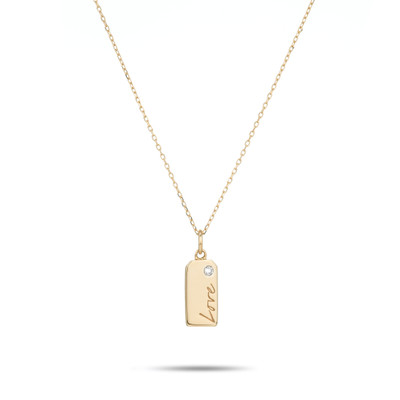 "Give mom a classic, yet personal gift. The dog tag includes a flush set single diamond to give just a little sparkle and an engraved ""Mom"" to give all of the appreciation and love."
