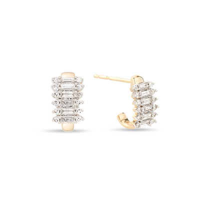 A classic look with a modern take. Adina Reyter has created an extensive line fo wearable, affordable fine jewelry and these Stack Baguette earrings are no different. The 8 stacks of baguette and diamond rounds create a modest statement earring.