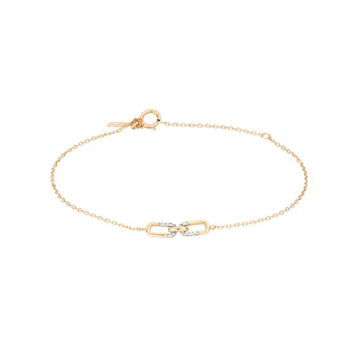 A delicate everyday piece, you never have to take off. The 14k yellow gold is accented with two hand set pave interlocking links to create a dainty piece to wear alone or stack with others.