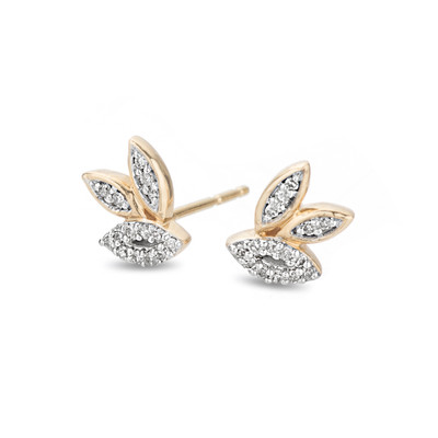 An effortlessly classic pair of earrings you can wear all day, everyday. The three marquise are filled with hand set pave diamonds and clustered together to create a modest statement earring.