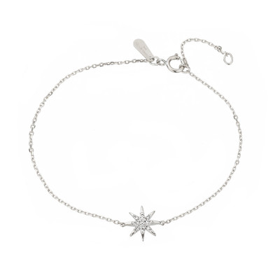 "A delicate everyday piece, you never have to take off. The sterling silver is accented with a hand set pave starburst to create a dainty piece to wear alone or stack with others.   Adjustable 6/7"" chain Starburst measures approximately 8mm wide"