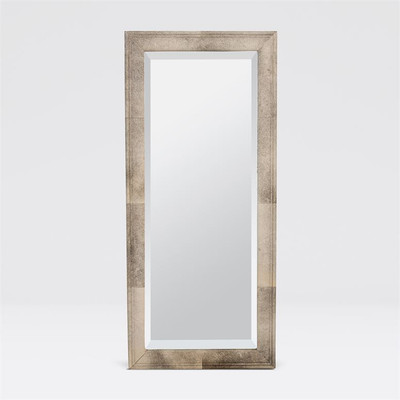 Genuine Hair-on-hide wraps the dimensional frame of this large, rectangular mirror. The hide is trimmed and has a natural variation of cool grays. A perfect neutral centerpiece for any room or closet.