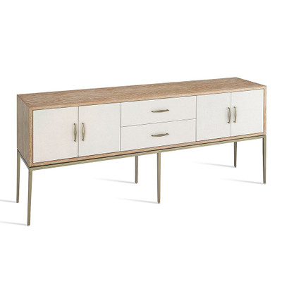 A whitewashed oak finish, faux linen accents and champagne silver metal details deliver a chic touch to the white Karina Buffet.