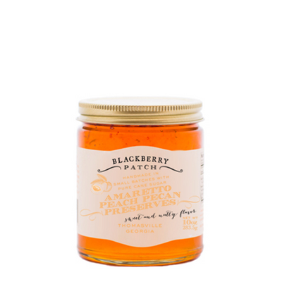 Our Amaretto Peach Pecan Preserves are handmade in small batches. We use only the freshest ingredients to create our preserves. Try on your morning toast.