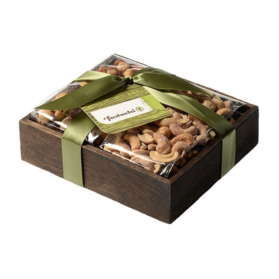 Simply irresistible. This beautiful wood box makes a lovely gift on its own, but filled with Fastachi's fresh roasted Salted Cashews and their signature Cranberry Nut Mix, it becomes unforgettable.