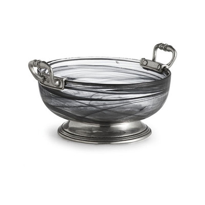 Crafted with handmade glass that been infused with an artistic swirl this bowl is then perfectly finished with a pewter base and handles. A great serving dish or display piece for anywhere in your home!