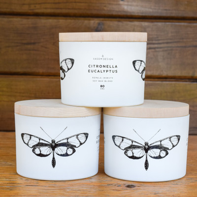 Ready to enjoy your outdoor space but can't handle the insect? We've got your answer! This Citronella Sea Salt Hurricane is as handsome as it is helpful at keeping the bugs away.