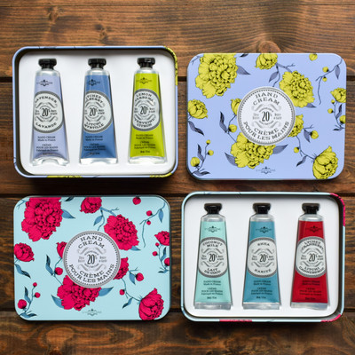 The perfect trio! These beautiful keepsake tins contain three 1oz hand creams made of the finest natural ingredients in the South of France.