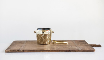 Hammered Ice Bucket & Tongs