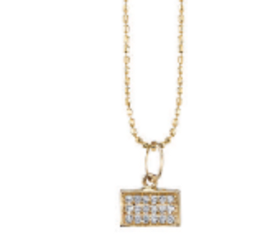 Pave Rectangle Charm Necklace - Small
