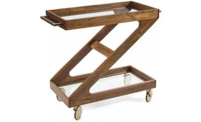 Rolling Wood Bar Cart