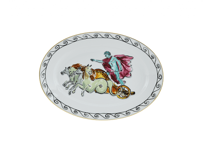 Neptune's Voyage Oval Platter - Chariot White