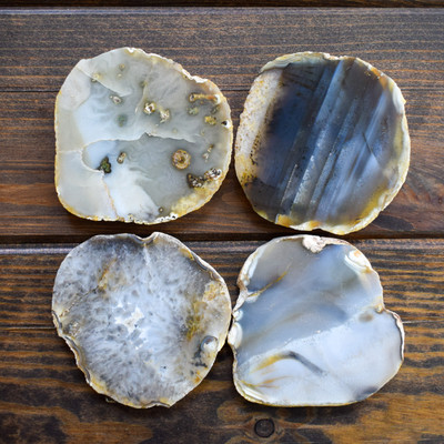 "4"" Brown Round Agate Coasters (Set of 4)"