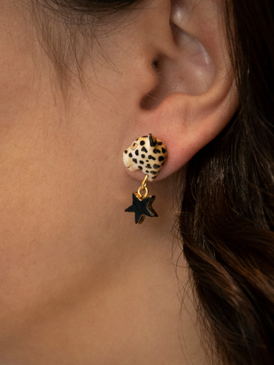 Leopard Star & Moon Stud Earrings
