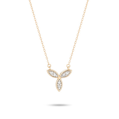 Pave Marquise Flower Necklace - Y14