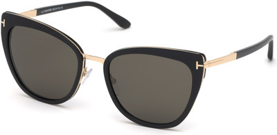 Tom Ford- Simona Sunglasses - Shiny Black with Rose Gold