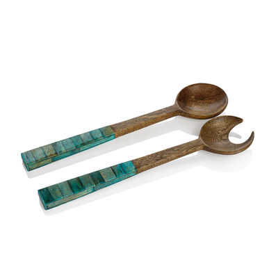 Turquoise and Mango Wood Salad Servers